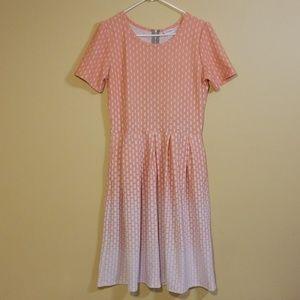 LuLaRoe Peach & White Amelia Dress
